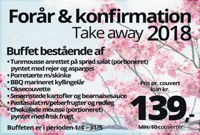 Take away forår/konfirmation 2018